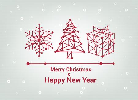 Christmas tree, Merry Christmas and Happy New Year, Line Minimalist Style Greeting Card, Beautiful Elegant Design, Vector Illustration, christmas gift Illustration