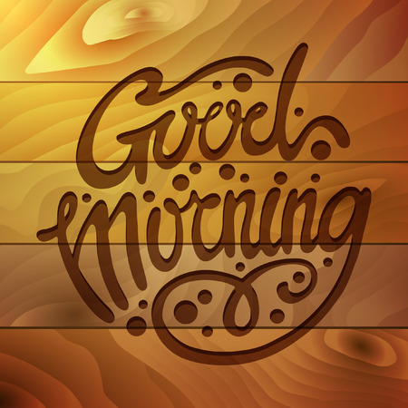 Good Morning Lettering Style Design background, Handmade calligraphy, motivational quote typographical poster