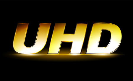 Golden UHD icon, ultra high definition