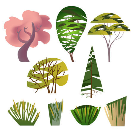 Trendy set of different trees, bushes, natural objects, original graphic design elements for cards, posters, invitations Çizim