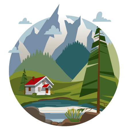 Houses in the mountains. Trendy flat style, illustrations, landscape