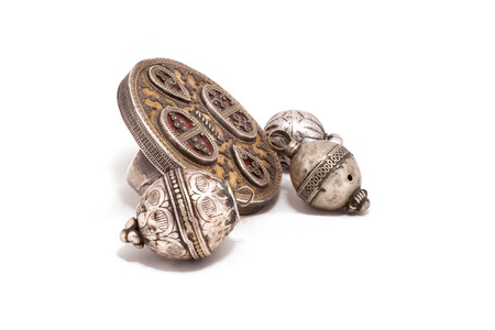 Collection of Vintage National and Silver Jewelry, rings and pendants round, Kazakh National Jewelry Stok Fotoğraf