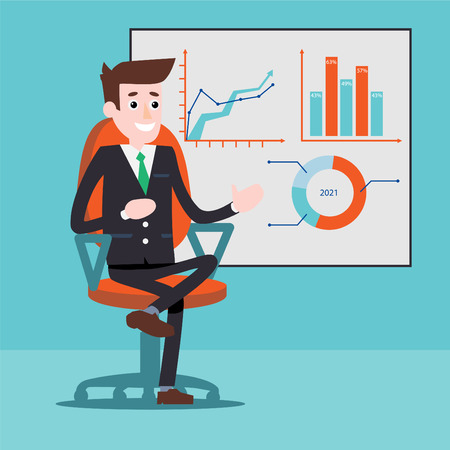 bookkeeper: Manager character next to the charts on a whiteboard, Businessman, Flat design illustration.