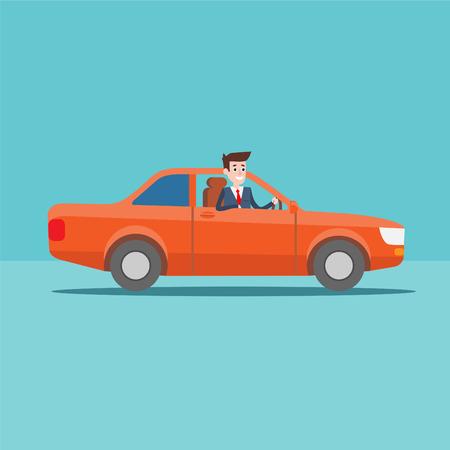 オフィス マネージャー文字の車、実業家、フラット デザイン イラストの乗り物  イラスト・ベクター素材