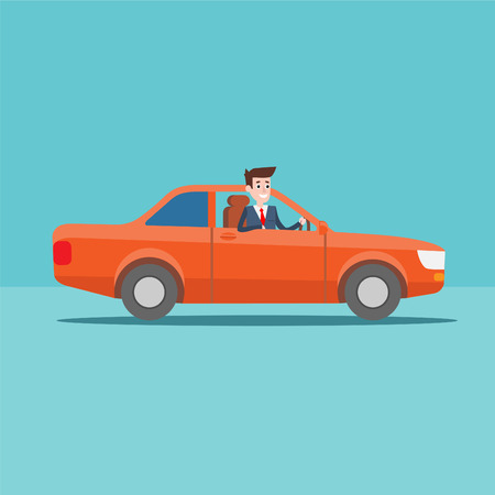 red sports car: Office manager character rides in the car, Businessman, Flat design illustration Illustration