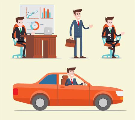 set of businessman: Office manager working set. Businessman. Flat design illustration Illustration
