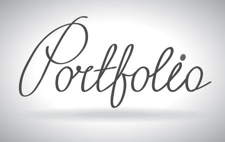 website portfolio: Portfolio lettering, futuristic hi-tech design. Website, mobile applications icon. concept outline icon. Illustration