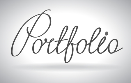 Portfolio lettering, futuristic hi-tech design. Website, mobile applications icon. concept outline icon. Illustration