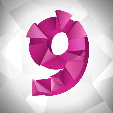 Polygon triangle number nine on the white triangle abstract background.