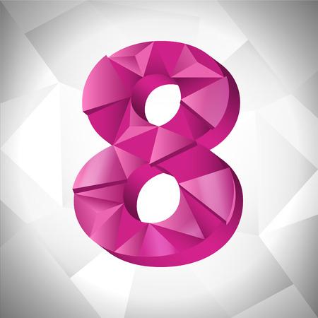 多角形の三角形の数は 8 白い三角形の抽象的な背景。  イラスト・ベクター素材