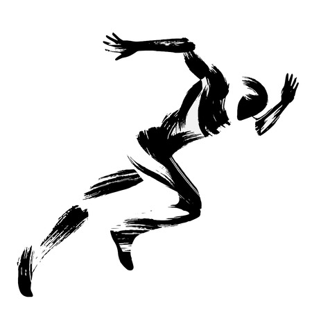 Trendy stylized illustration movement, running man, chinese and japanese ink brush