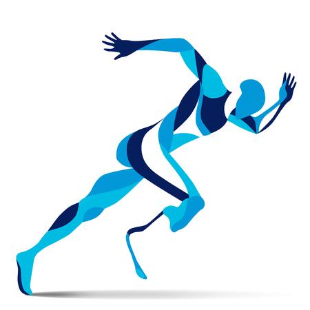 Moda movimiento de ilustración estilizada, que corría Paralímpico, línea vector silueta de hombre corriendo