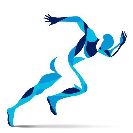 Trendy stylized illustration movement, running man, line vector silhouette of running man Фото со стока - 61406298