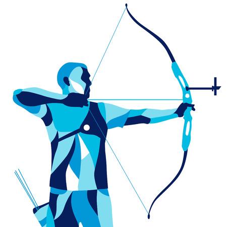 Trendy mouvement stylisé illustration, archer, tir à l'arc de sport, vecteur ligne silhouette de tir à l'arc Banque d'images - 61406305