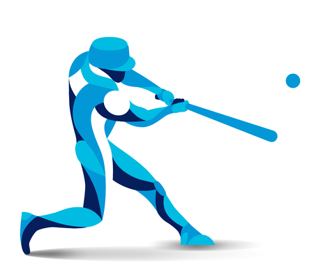 Trendy stylized illustration movement, baseball player, vector silhouette of baseball player