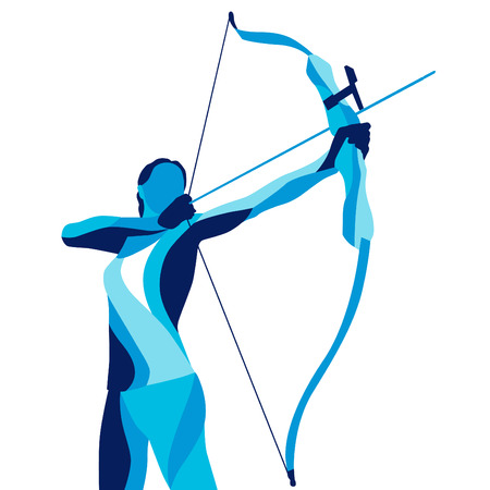 Moda movimiento de ilustración estilizada, archer, tiro deportivo, la línea vector silueta de tiro con arco