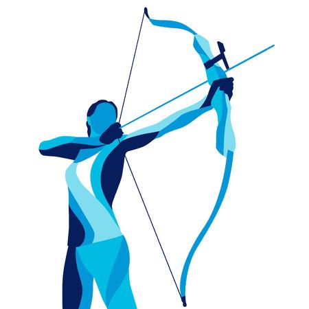 Trendy gestileerde afbeelding beweging, schutter, sport boogschieten, lijn vector silhouet van het boogschieten