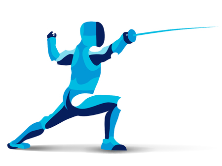 Trendy stylized illustration movement, fencing, line vector silhouette of fencing man