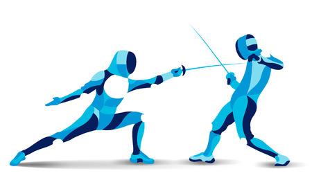 流行の様式化された図の動き、フェンシング、フェンシングの行ベクトル シルエット マンします。  イラスト・ベクター素材
