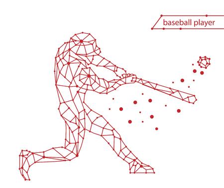 流行様式図運動、野球選手、野球選手の行ベクトル シルエット