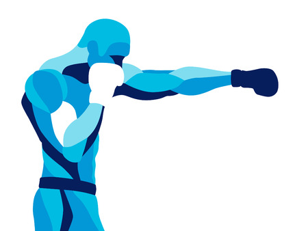 Trendy stylized illustration movement, boxer sport, pugilism, line vector silhouette of boxer