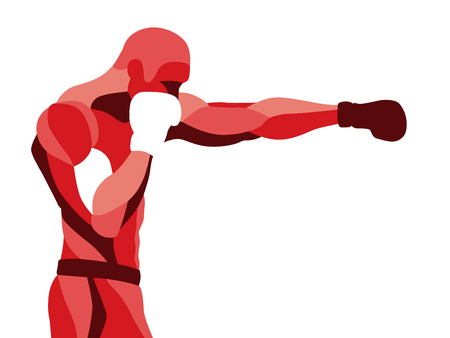 Trendy stylized illustration movement, boxer sport, pugilism, line vector silhouette of boxer