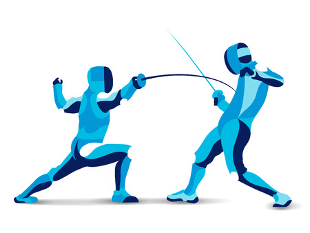 Trendy stylized illustration movement, fencing, line vector silhouette of fencing mans