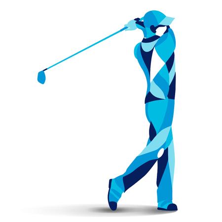 Trendy stylizowane ilustracja ruchu, golfista, golfista, sylwetka wektora linii gracza golfa
