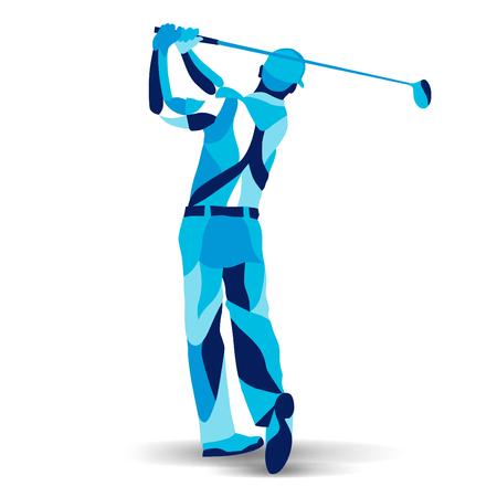 流行様式図運動、ゴルフ選手、ゴルファー、ゴルフ プレーヤーの行ベクトル シルエット