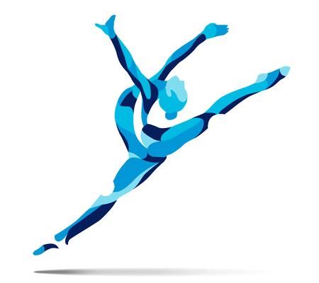 Trendy gestileerde afbeelding beweging, krullend gymnastiek, acrobatiek, lijn vector silhouet van krullend gymnastiek