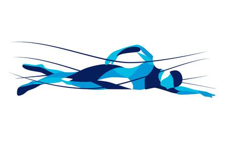 Trendy gestileerde afbeelding beweging, freestyle zwemmer, lijn vector silhouet van freestyle zwemmer. Sport zwemmen. Stock Illustratie