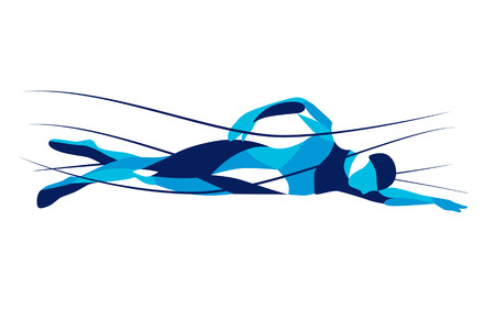 Trendy stylized illustration movement, freestyle swimmer, line vector silhouette of freestyle swimmer. Sport swimming. Vettoriali