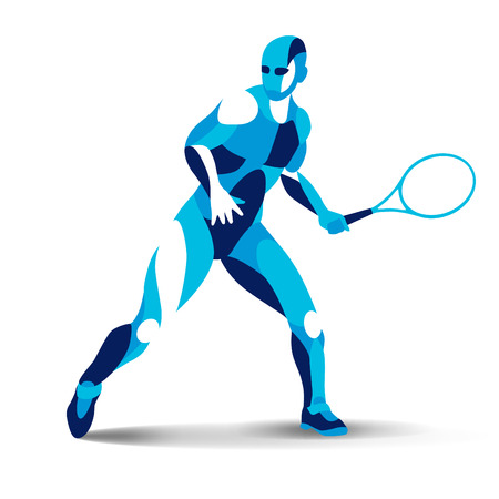 Trendy stylized illustration movement, tennis player, line vector silhouette of tennis player