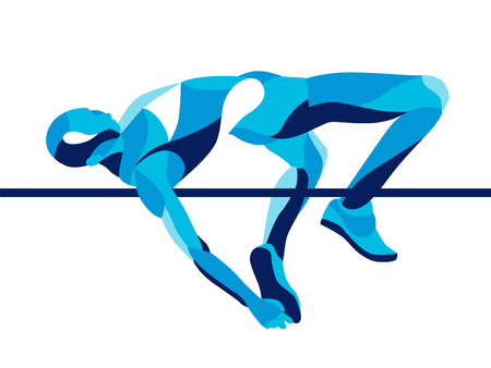 Trendy illustration movement, high jump athlete composed of wave shape.
