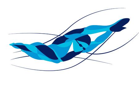 Trendy mouvement stylisé illustration, le nageur nage libre, vecteur ligne de la silhouette du nageur nage libre. natation Sport.