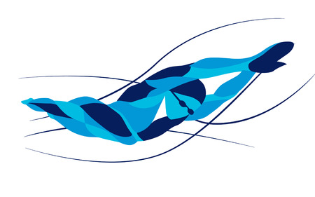Trendy stylized illustration movement, freestyle swimmer, line vector silhouette of freestyle swimmer. Sport swimming. Çizim