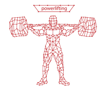 Trendy stylized illustration movement, powerlifting, line vector silhouette of powerlifting Çizim