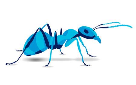 Trendy gestileerde illustratie, mier, pismire, lijn vector silhouet van mier, vectorillustratie