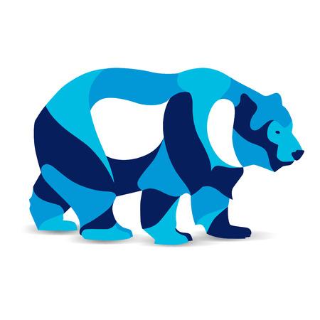 Trendy stylized illustration, bear, line vector silhouette of bear, vector illustration