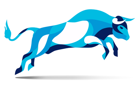 Trendy stylized illustration movement, bull jumping, line vector silhouette of wild bull jumping, vector illustration