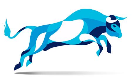 corrida: Trendy stylized illustration movement, bull jumping, line vector silhouette of wild bull jumping, vector illustration