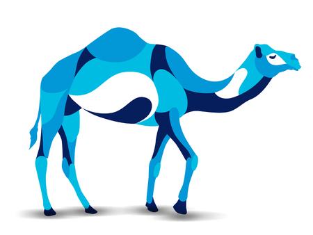 humped: Trendy stylized illustration, camel, line vector silhouette of camel, vector illustration