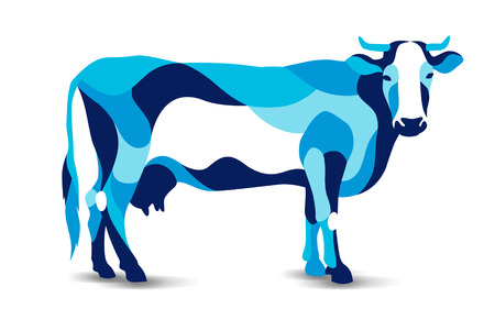 Trendy stylized illustration, cow, kine, beefs, beef, bossy, neat line vector silhouette of cow vector illustration Illustration