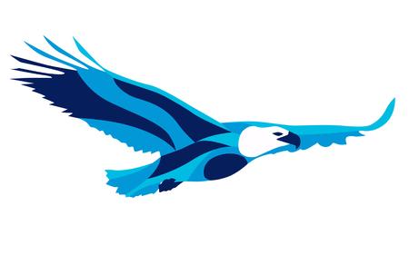 Trendy stylized illustration movement, eagle, line vector silhouette of eagle, vector illustration
