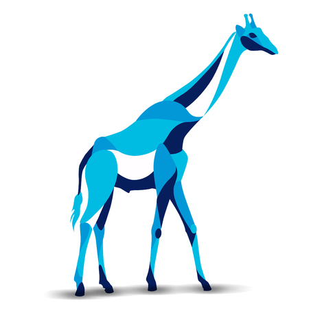 Trendy stylized illustration, giraffe, line vector silhouette of giraffe, vector illustration Stok Fotoğraf - 61406459