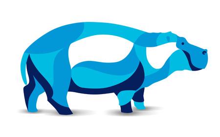 Trendy stylized illustration, hippo, hippopotamus, river-horse, line vector silhouette of hippo, vector illustration