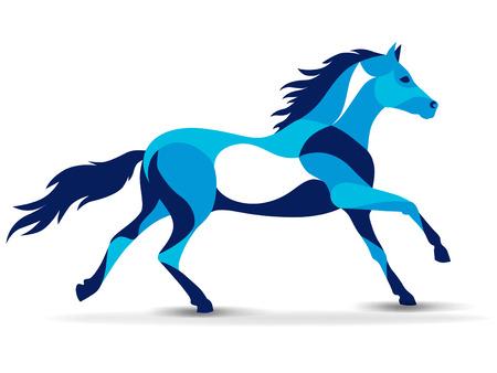 Trendy stylized illustration, horse, line vector silhouette of horse, vector illustration
