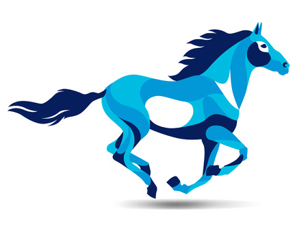Trendy stylized illustration, horse, line vector silhouette of horse, vector illustration