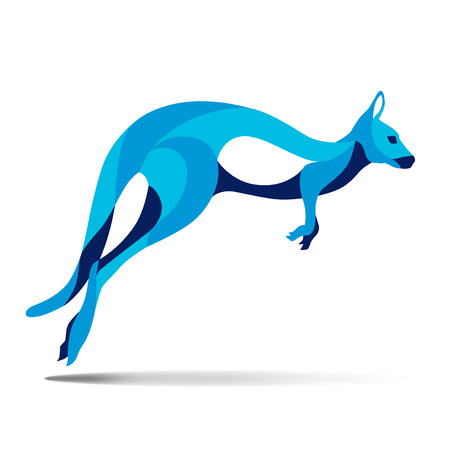 wallaby: Trendy stylized illustration, kangaroo, wallaby, wallaroo, line vector silhouette of kangaroo, vector illustration