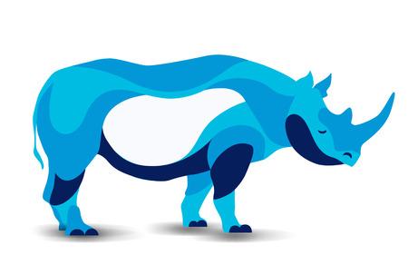 Trendy stylized illustration movement, rhinoceros, line vector silhouette of rhinoceros, vector illustration Çizim
